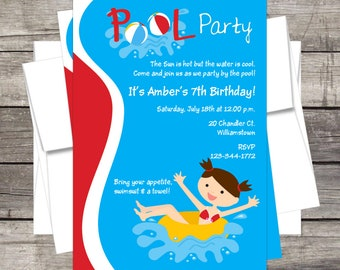 Pool Party Birthday Party Invitation PERSONALIZED, summer party, kids pool party, swim birthday, summer birthday invite, swimming, beach