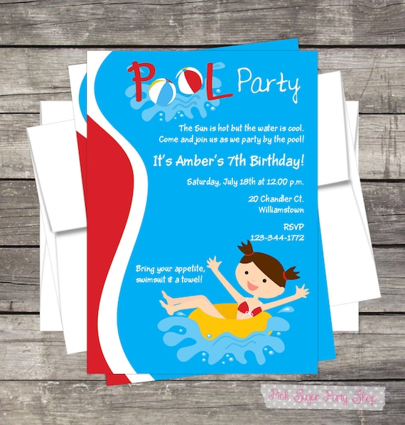 Pool Party Birthday Invitation PERSONALIZED Summer