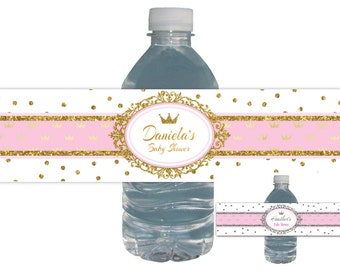 Princess Baby Shower, Water Bottle Labels, Royal Baby, Gold Glitter, Crown, PERSONALIZED, Waterproof, royal baby shower, baby shower favors