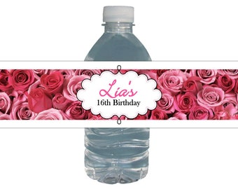 Pink Roses Water Bottle Labels *Customized for YOU* Birthday Party * Graduation * Brial Shower* Baby Shower* 100% waterproof peel and stick
