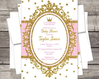 Princess Baby Shower Invitation / Gold Glitter or Silver Glitter / Gold Crown / PERSONALIZED / Royal Baby Shower / Pink Gold Princess / Pink