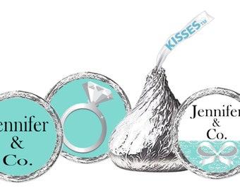Tiffany Blue Kisses Labels / Bridal Shower / Birthday Party / Baby Shower / Wedding / Bat Mitzvah / Hershey's Kisses Labels