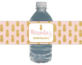 Pineapple Water Labels / Bottle Labels / Birthday Party / Waterproof Labels / Pineapple Gold Pink / Gold Foil / Pineapple Theme