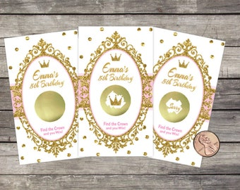 Princess Birthday Scratch Offs / Birthday Party Game / Lottery Cards (10 ct) / PERSONALIZED / Gold Glitter /Royal Crown / Girl Birthday