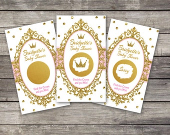 Baby Shower scratch off game cards, 10ct, scratch off tickets, party lottery cards, baby shower raffle, Princess Baby Shower, gold glitter