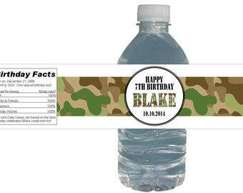 Camouflage Birthday Party Water Bottle Labels *Waterproof Peel + Stick* Birthday Party Baby Shower Bridal shower Army Theme