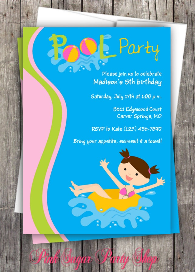 Pool Party Birthday Invitation PERSONALIZED Summer Kids Swim Invite Swimming Beach