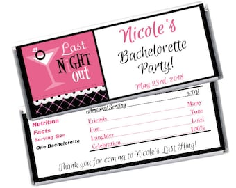 Bachelorette Party Favor / Chocolate Hershey's Candy Bar Wrapper & Foil / Last Night Out