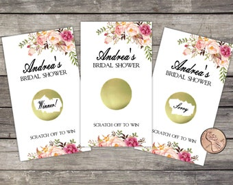 Bridal Shower Scratch Off Game Cards, 10ct, Floral, Shower Favor, lottery scratch off, bridal shower game, Rustic Flowers, Roses