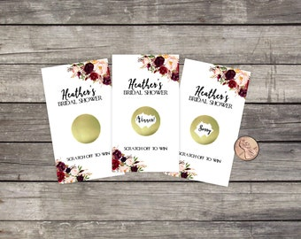Bridal Shower Scratch Off Game Cards, Fall, 10ct, Favor, lottery scratch off, bridal shower game, Floral Rustic Flowers, Roses, Fall, Winter
