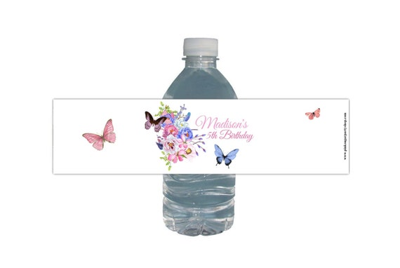 UNICORN 1ST BIRTHDAY PEEL AND STICK WATER BOTTLE LABELS STICKERS FLORAL CUTE H