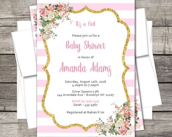 Baby Shower Invitation / Floral / Gold Glitter / PERSONALIZED / Digital Printable / Flowers