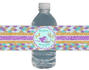 Mermaid Water Labels, Birthday Party, Gold Glitter Purple Glitter, Waterproof Bottle Labels, Mermaid Birthday Party, Mermaid Theme Party