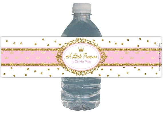 Water Bottle Labels Princess Baby Shower Pink Gold Glitter Etsy