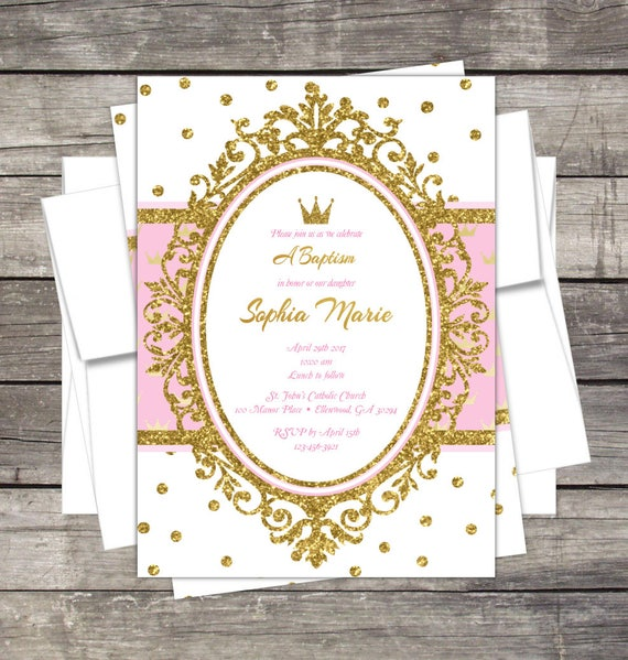 baptism invitation christening invitation princess theme pink