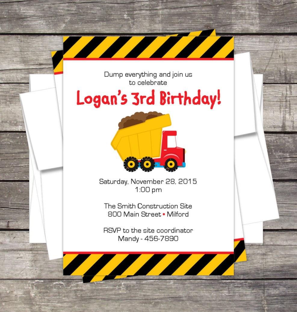 Tonka Dump Truck Birthday Party Invitation Customized for you | Etsy