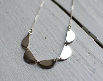 sterling silver necklace, ready to ship, minimalist, modern half circle, delicate, 925.