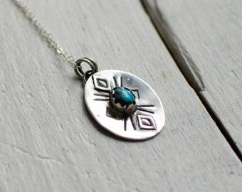 Massive silver necklace ethnic, turquoise, minimalist, symbol
