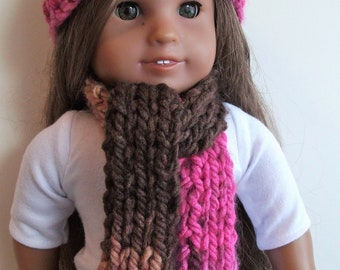"New Hand-Knit American Girl Doll Hat and Scarf Set in Shades of Pink and Brown for 18"" Tall AG  Doll"