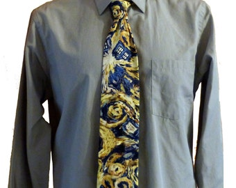 Doctor Who Exploding TARDIS Necktie, Doctor Who necktie, TARDIS necktie, Van Gough Necktie, Doctor Who gift, Geeky Gift, Geek Tie, Geeky