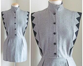 Oleg Cassini Gray and Black Vintage Mini Dress