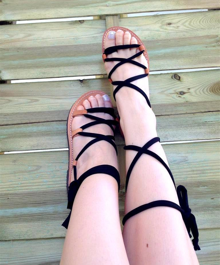 e216cd619f34 Leather sandals Women s lace up Gladiator Sandals Greek