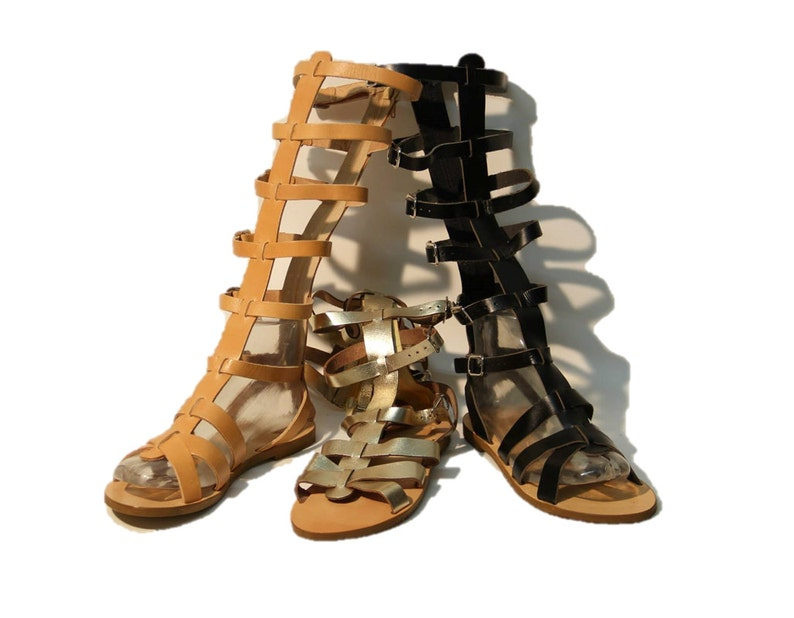 16e81053101e Leather sandals women Tan Black Gold sandals knee high