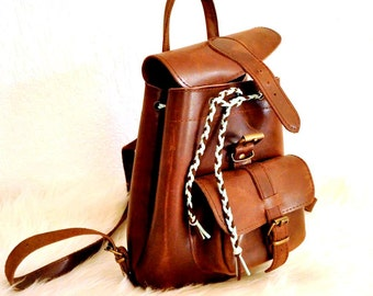 Brown Leather Backpack Purse, Small Backpack, Leather Bag, Leather Rucksack, Rustic Women Backpack, Handmade Leather Backpack