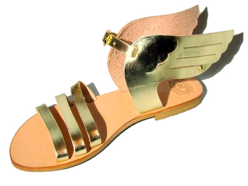 59f3461f26e4 Hermes gold sandals Greek wing leather sandals women strappy