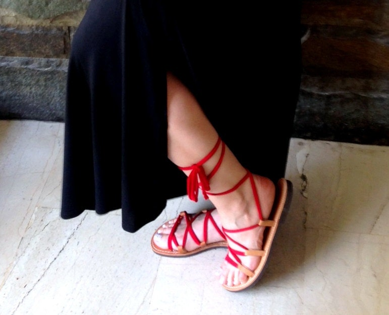 b684d0450b8a Women s leather sandals lace up Gladiator Sandals Greek
