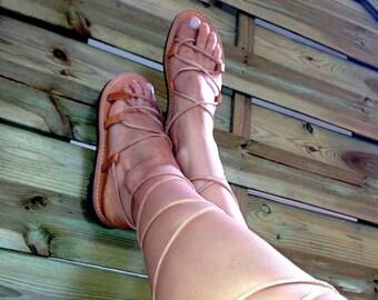 Sandales gladiateur, sandales en cuir de femmes grecques, sandales à lacets grec sandales Spartiates, sandales, à nouer