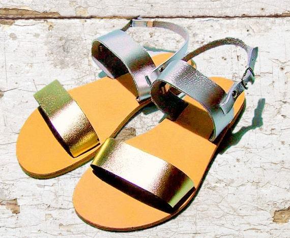 4cedd3638052 Greek Gold Silver leather sandals women sandals gold
