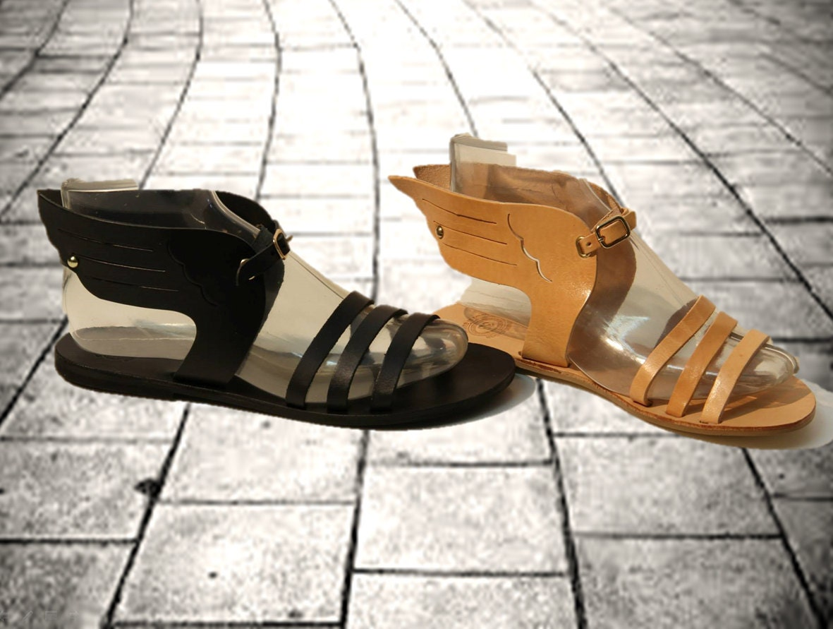 d5a801e3f3a1 Women sandals in tan black gold Greek wing leather sandals