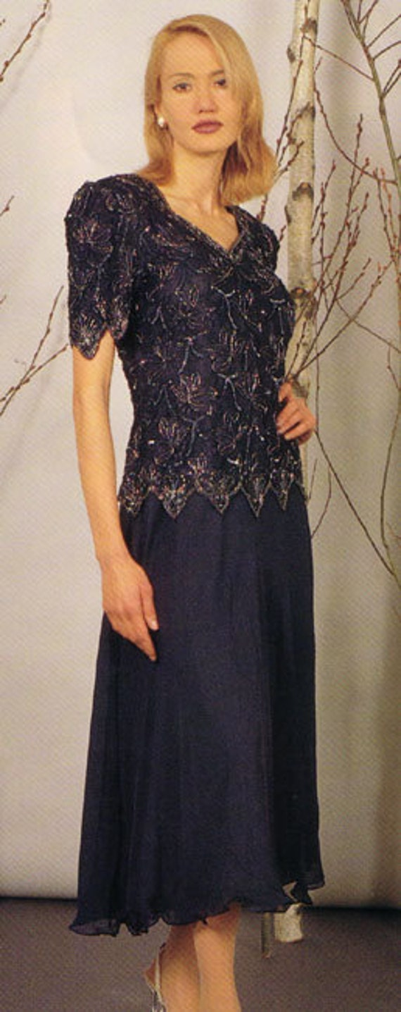 Mother of the Bride or Groom Dresses Easy Fitting Dress in Navy 58030 Great Tea Length