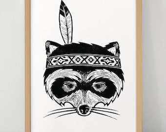 Indian Racoon - Linocut Print - Limited Edition Poster