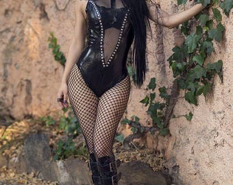 MADE TO ORDER. Latex and fishnet studded bodysuit Black