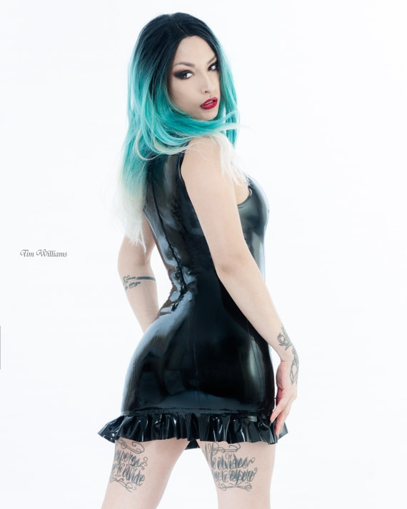 MADE TO ORDER Simplicity latex and fishnet dress