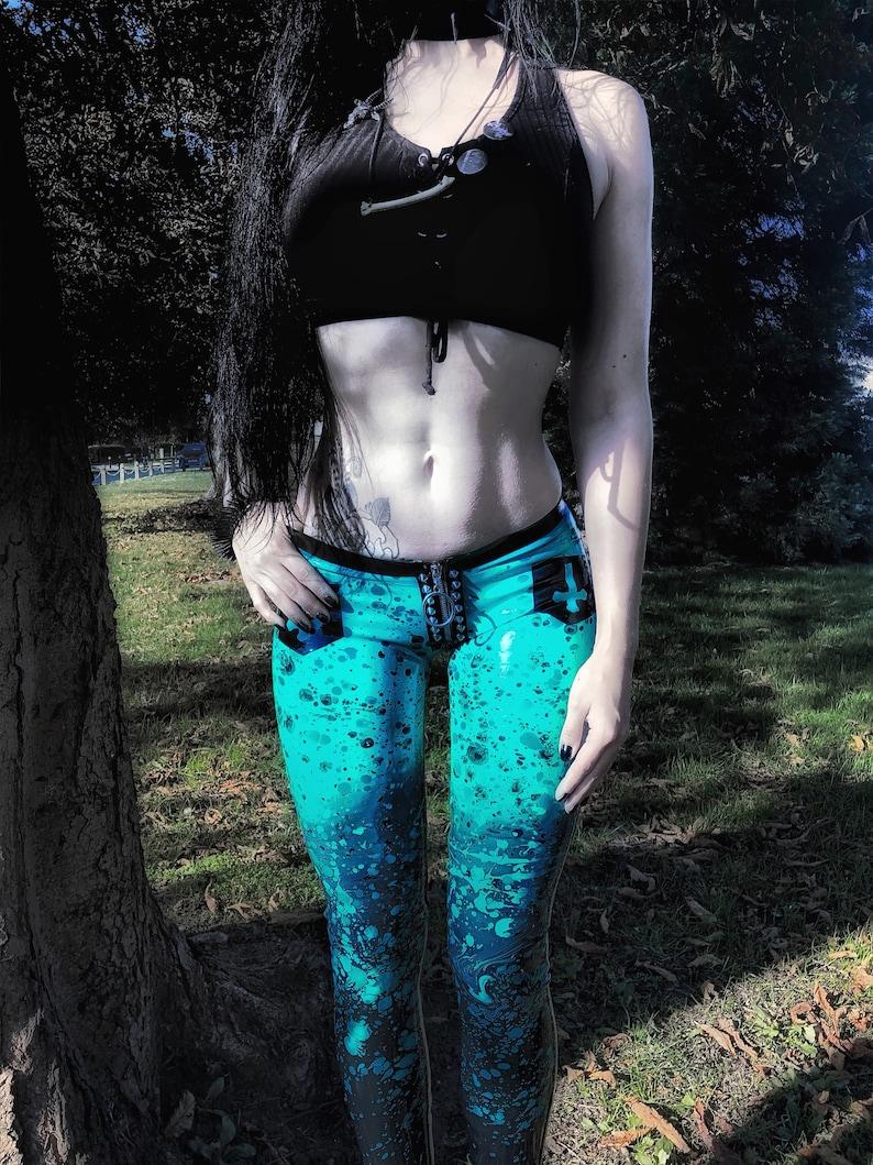 Turquose Splatter Latex Studdedpants