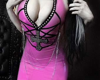 READY TO SHIP. Inverted cross studded latex dress s-uk8
