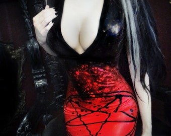 MADE TO ORDER. Baphomet studded latex dress (no eyes in a star)