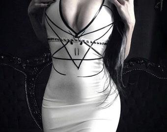 MADE TO ORDER. Studded pentagram dress.