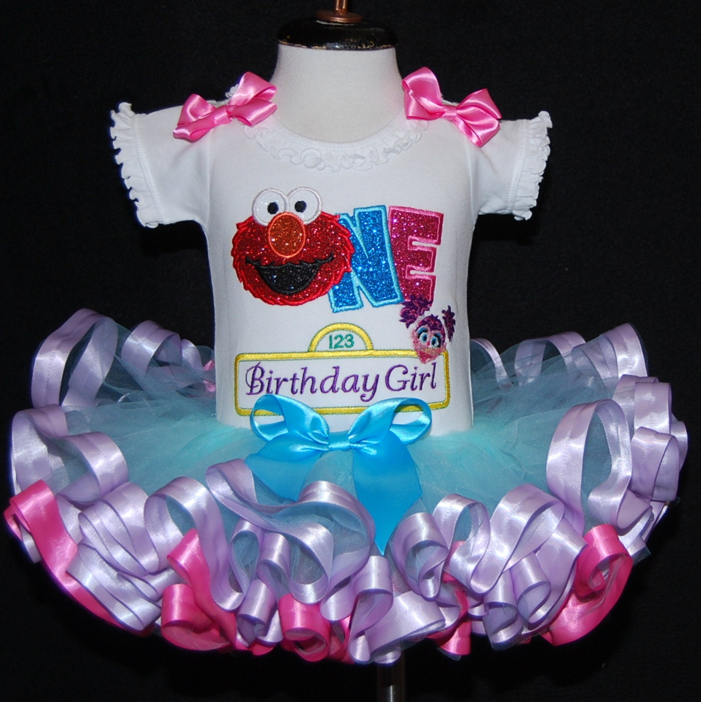 1st birthday girl outfit, Sesame Street birthday dress ,Elmo