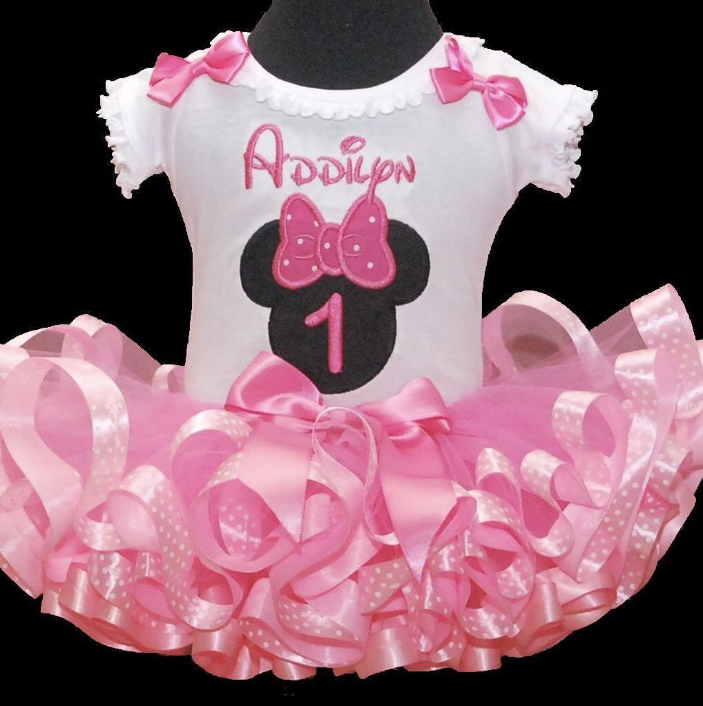 1st birthday girl outfit Minnie Mouse Icon light pink