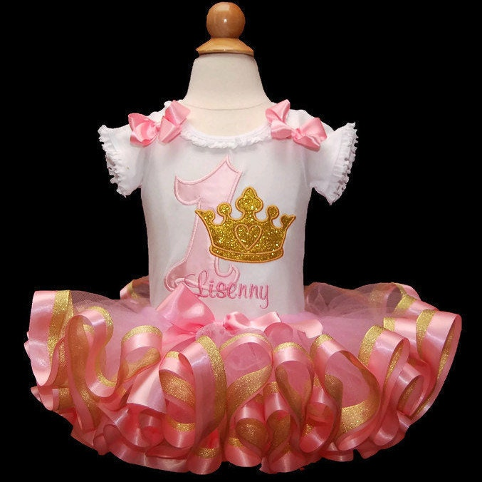 pink and gold 1st birthday girl first birthday tutu outfit princess 1st birthday tutu dress ribbon trim tutu personalized birthday shirt