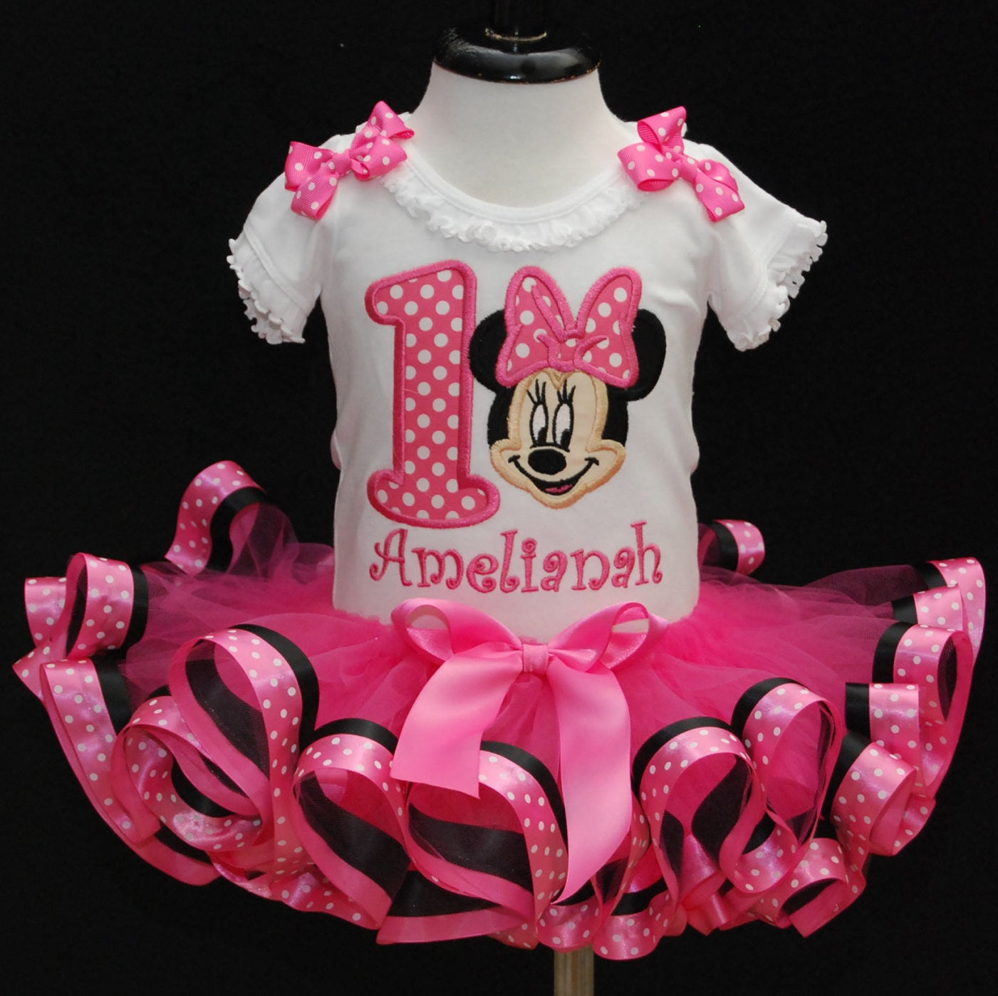 1st Birthday, Minnie Mouse, tutu, first birthday, tutu dress, Pink tutu, personalized, birthday shirt, ribbon trim tutu, minnie mouse party