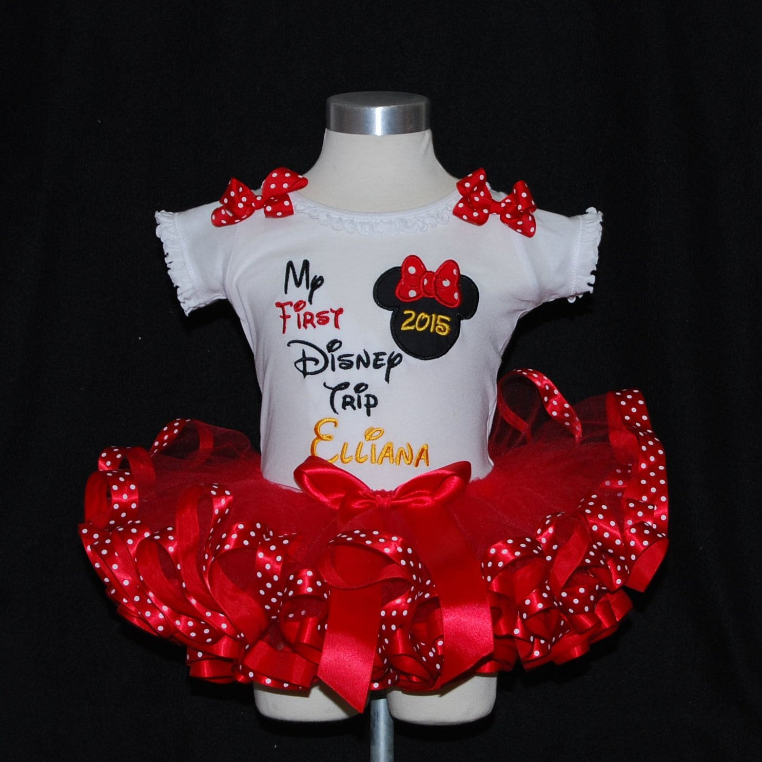 My First Disney Trip  Minnie Mouse Icon/  2 pieces  red black and yellow