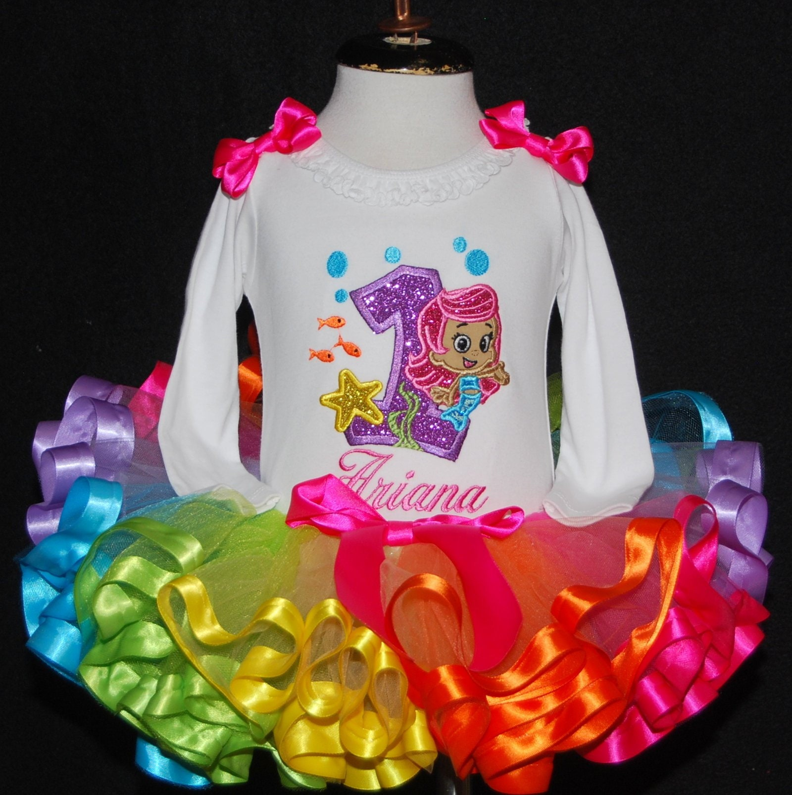 1st birthday girl outfit Bubble guppies long sleeve