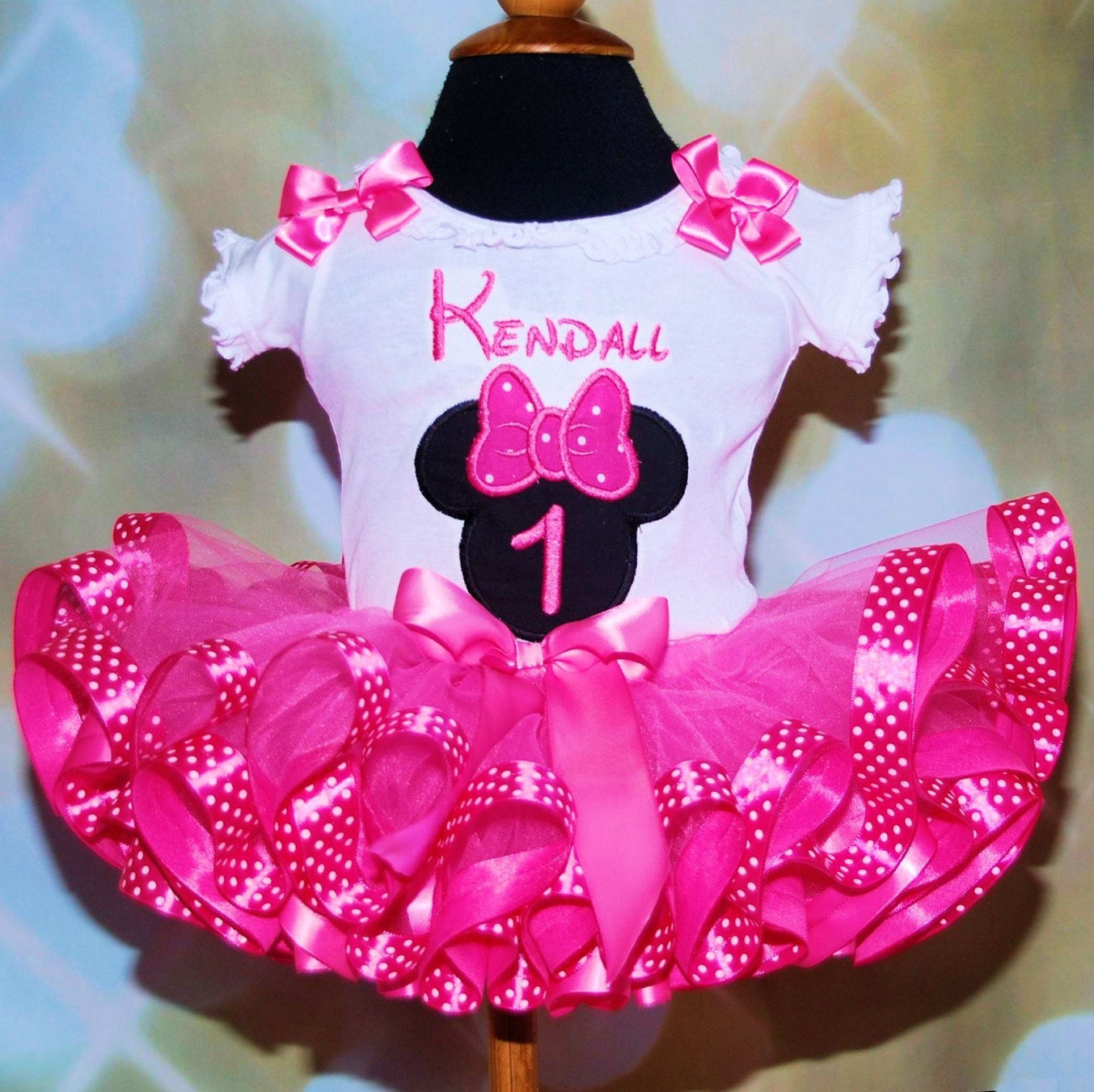 Minnie Mouse Birthday Tutu Outfit  embroidered top ribbon trimmed tutu outfit 1st birthday outfit birthday tutu dress minnie mouse  birthday