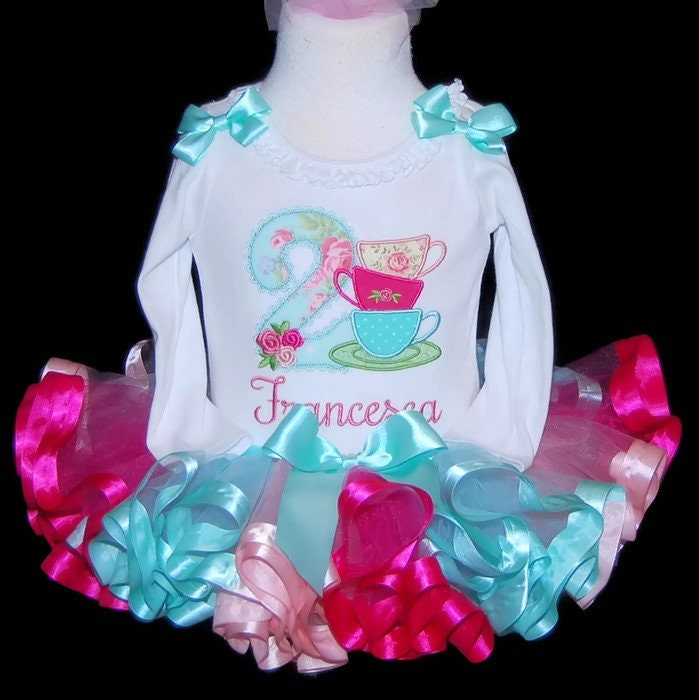 2nd birthday outfit girl, Tea for Two birthday outtfit, Tea party birthday tutu dress, cake smash set, tea cups, vintage style tea set