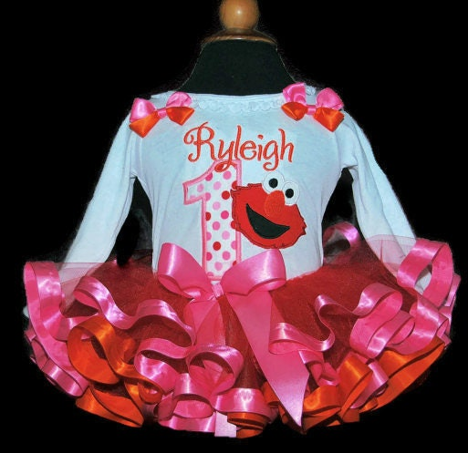 1st birthday tutu outfit, Elmo First Birthday,Tutu Outfit, personalized, Embroidered shirt, ribbon trimmed tutu, 1st birthday tutu dress